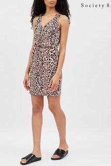 Society 8 Leopard Print Wrap Front Dress