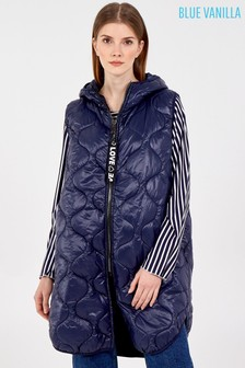 Blue Vanilla Zip Up Sleeveless Hooded Puffer Gilet