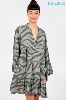 Blue Vanilla Zebra Print Oversized Tiered Dress