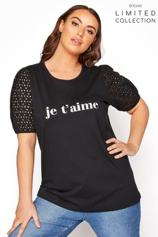 Yours Limited Anglaise Puff Sleeve Je T'Aime Tee