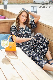 Yours Limited Maxi Tea Dress Ruched Sleeve Daisy Spot