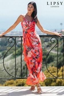 Lipsy Wrap Ruffle Maxi Dress