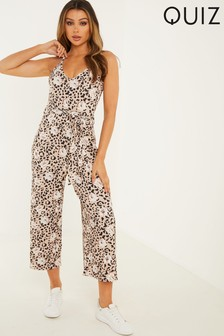 Quiz Ribbed Animal Print  Culotte Jumpsuit