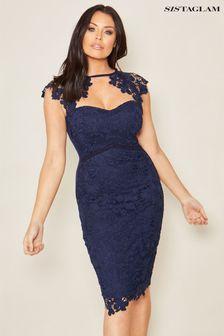 Sistaglam Scallop Neck Lace Dress
