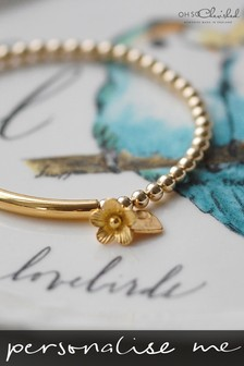 Personalised Yellow Gold Stretch Bracelet by Oh So Cherished