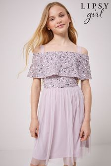 Lipsy Bardot Sequin Top Tulle Dress