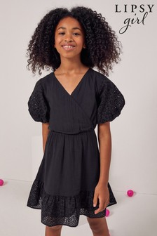Lipsy Broderie Puff Sleeve Dress
