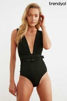 Trendyol Plunge Neck Belted Swimsuit