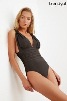 Trendyol Plunge Neck Ruched Waist Swimsuit
