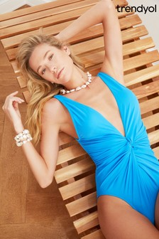 Trendyol Plunge Ruched Body Swimsuit