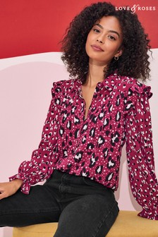 Love & Roses Printed Patched Ruffle Shirt