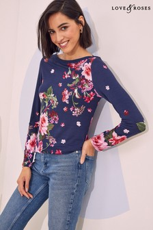 Love & Roses Jersey Long Sleeve Boatneck Top