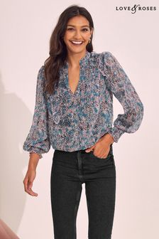 Love & Roses Chiffon Frill Shirt