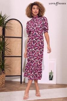 Love & Roses Floral High Neck Midi Dress