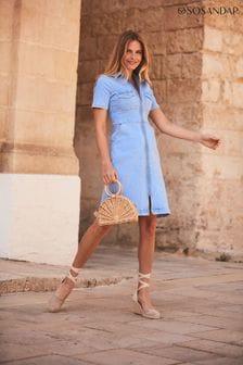 Sosandar Short Sleeve Zip Front Dress