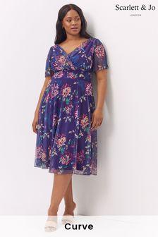 Scarlett & Jo Victoria Vintage Oriental Print Purple Angel Sleeve Mesh Midi Dress