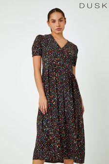 Dusk Ditsy Spot Print Button Down Dress