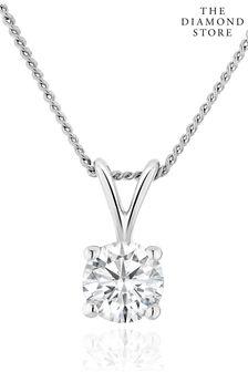 The Diamond Store Lab Diamond Solitaire Pendant Necklace 0.33ct H/Si in 9K White Gold