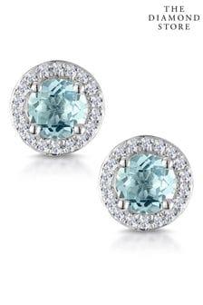 The Diamond Store 0.69ct Aquamarine and Diamond Halo Stellato Earrings in 9K White Gold