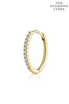 The Diamond Store SINGLE Stellato Diamond Encrusted Hoop Earring 0.09ct in 9K Gold