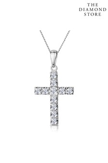 The Diamond Store Diamond Cross Necklace 0.46ct in 9K White Gold
