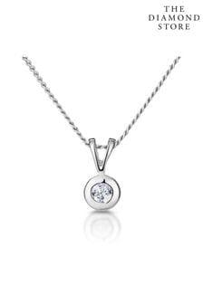 The Diamond Store Solitaire Pendant Necklace 0.05CT Diamond 9K White Gold