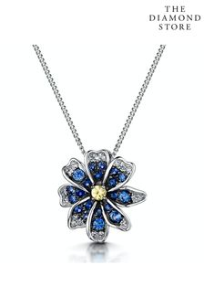 The Diamond Store Blue and Yellow Sapphire Diamond Pendant Necklace in 9K White Gold