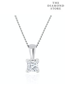 The Diamond Store Princess Cut Lab Diamond Pendant Necklace 0.15CT in 9K White Gold