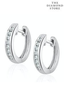 The Diamond Store Diamond Hoop Earrings 0.20ct 9K White Gold