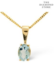 The Diamond Store Blue Topaz 7 x 5mm 9K Yellow Gold Pendant Necklace