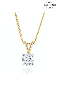 The Diamond Store Lab Diamond Solitaire Pendant Necklace 0.33ct H/Si in 9K Gold