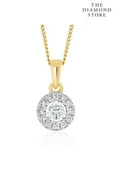 The Diamond Store Lab Diamond Halo Pendant Necklace 0.25ct H/Si in 9K Gold