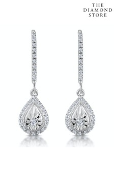 The Diamond Store Masami Diamond Pear Halo Earrings 0.20ct Pave Set in 9K White Gold