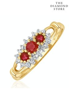 The Diamond Store Ruby 0.34ct And Diamond 9K Gold Ring