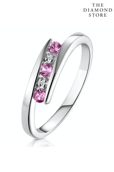 The Diamond Store 9K White Gold Diamond and Pink Sapphire Ring