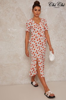 Chi Chi London Short Sleeve Floral Print Midi Day Dress