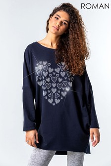 Roman One Size Diamante Heart Print Top