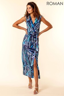 Roman Twist Front Abstract Print Maxi Dress