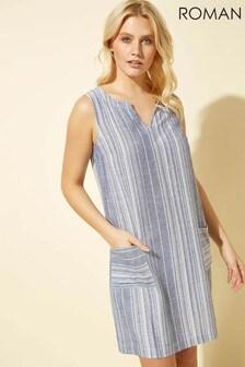 Roman Linen Stripe Print Dress