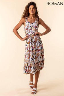 Roman Leaf Print Midi Length Sun Dress