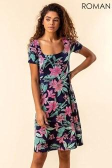 Roman Tropical Floral Square Neck Dress