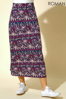 Roman Floral Tile Print Longline Skirt