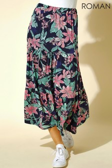 Roman Tropical Floral Tiered Midi Skirt