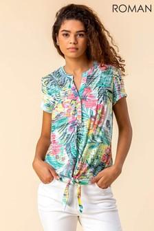 Roman Tie Hem Tropical Print Top