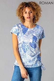 Roman Burnout Tropical Print Ruched T-Shirt