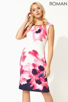 Roman Floral Print Fitted Scuba Dress