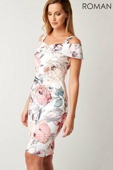 Roman Floral Cold Shoulder Scuba Dress