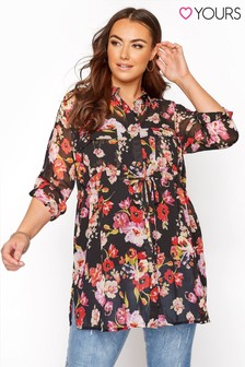 Yours Tie Waist Long Sleeve Shirt Floral