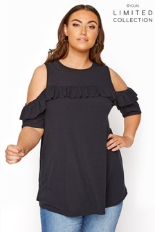 Yours Limited Cold Shoulder Rib Swing Top Frill