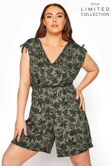Yours Limited Palm Leaf Print Playsuit